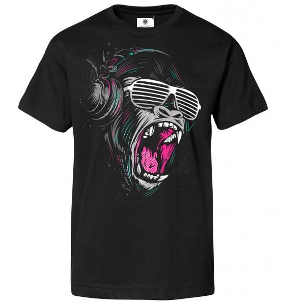 Bedrucktes Herren Gorilla DJ T-Shirt Shouting Kong
