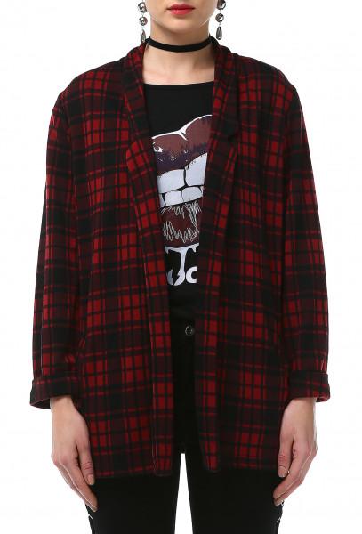 Ladies Rockupy Long Sleeve Cardigan Plaid