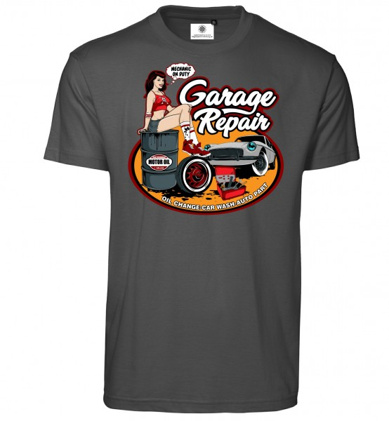 Bedrucktes Herren Oldtimer Racer T-Shirt Garage Repair im Comic Style