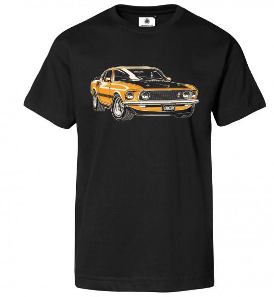 Bedrucktes Herren Muscle Car T-Shirt Mustang Mach 1