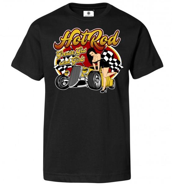 Bedrucktes Herren Hot Rod T-Shirt Grease, Gas and Girls