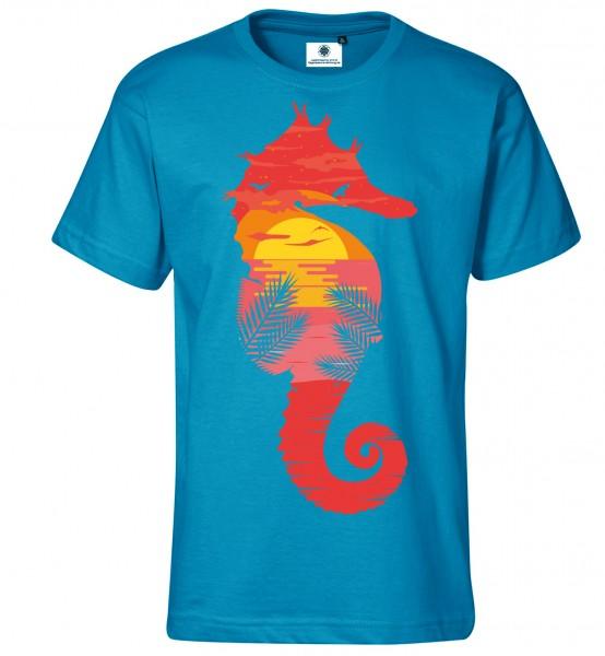 Bedrucktes Herren Sommer Strand T-Shirt Sea Horse