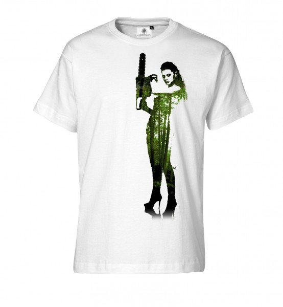 Bedrucktes Herren Horror T-Shirt Chainsaw Lady
