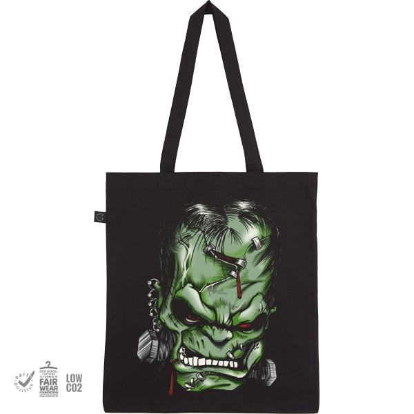 Stoffbeutel mit Aufdruck Einkaufsbeutel Tragebeutel Jutebeutel mit langen Henkeln Motiv Frankenstein