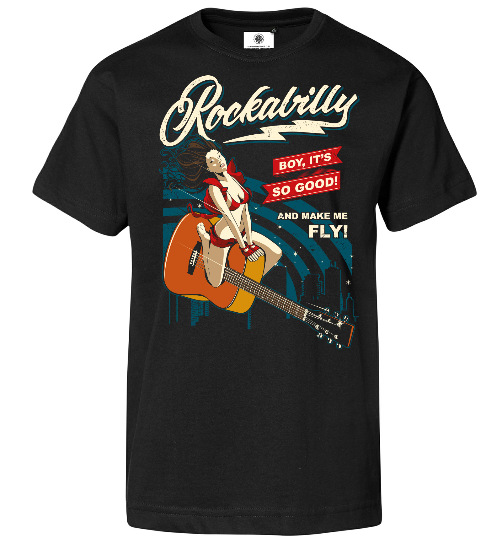 Bedrucktes Herren Vintage T Shirt Rockabilly PinUp