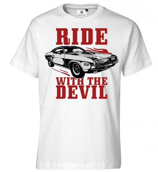 Bedrucktes Herren Muscle Car Tuning T-Shirt Ride with the Devil