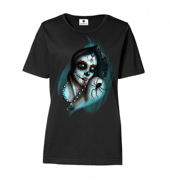 Bedrucktes Damen Gothic T-Shirt Dark Mystical Girl