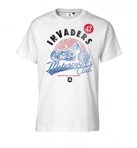 Bedrucktes Herren Biker T-Shirt mit Motiv Invaders Motorcycle Club