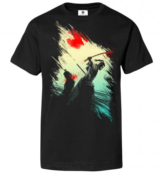 Bedrucktes Herren Schwertkampf Samurai T-Shirt The Finale