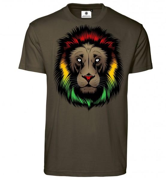 Bedrucktes Herren Rasta Afrika T-Shirt Lion Head