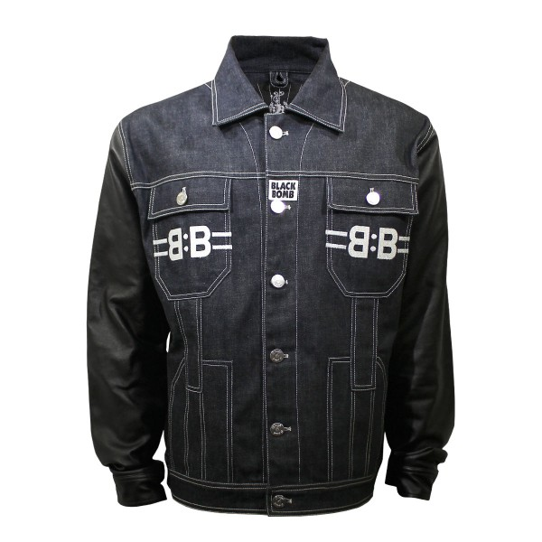 Black Bomb Diamond Denim Jacket