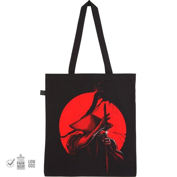 Stoffbeutel mit Aufdruck Einkaufsbeutel Tragebeutel Jutebeutel mit langen Henkeln Motiv Samurai