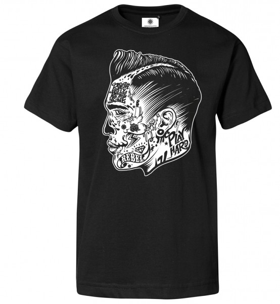 Bedrucktes Herren Oldschool T-Shirt Psychobilly Face Tattoo