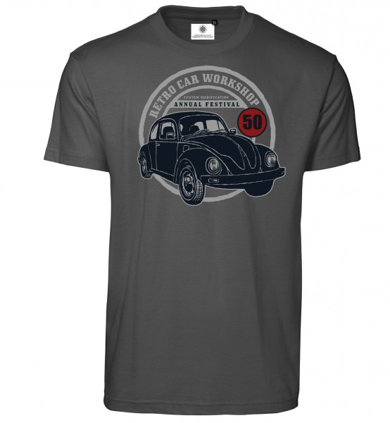 Bedrucktes Herren VW Käfer Oldtimer T-Shirt Retro Car Workshop