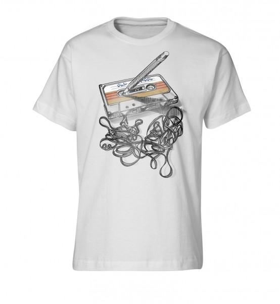 Bedrucktes Herren T-Shirt mit Tape Kassette Old-School