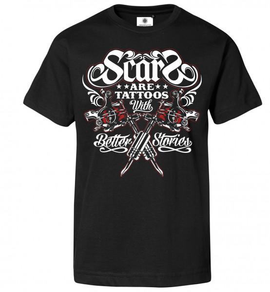 Bedrucktes Herren Tattoo T-Shirt Scars