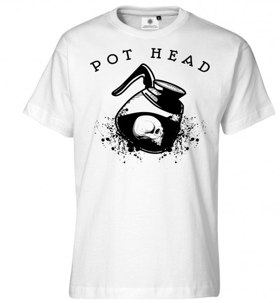 Bedrucktes Herren Kaffee Junkie T-Shirt Pot Head