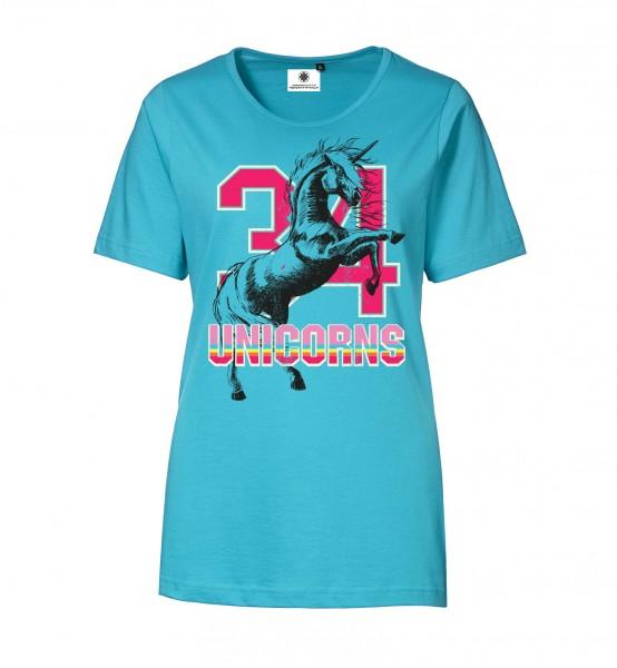 Bedrucktes Damen T-Shirt mit Motiv Unicorns