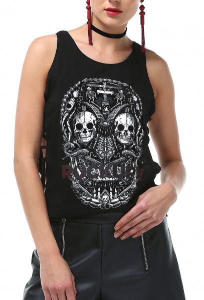Ladies Rockupy Tank Top Skulls