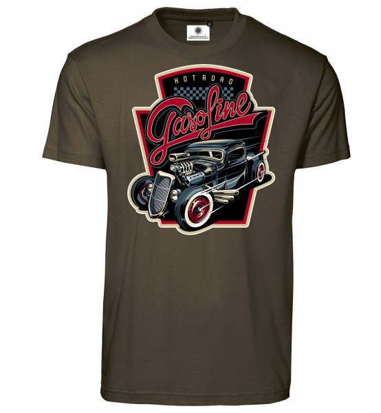 Bedrucktes Herren Hot Rod T-Shirt Hot Road Gasoline