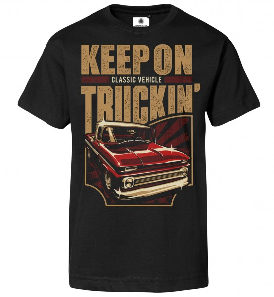 Bedrucktes Herren Oldtimer Pickup T-Shirt Keep on Trucking