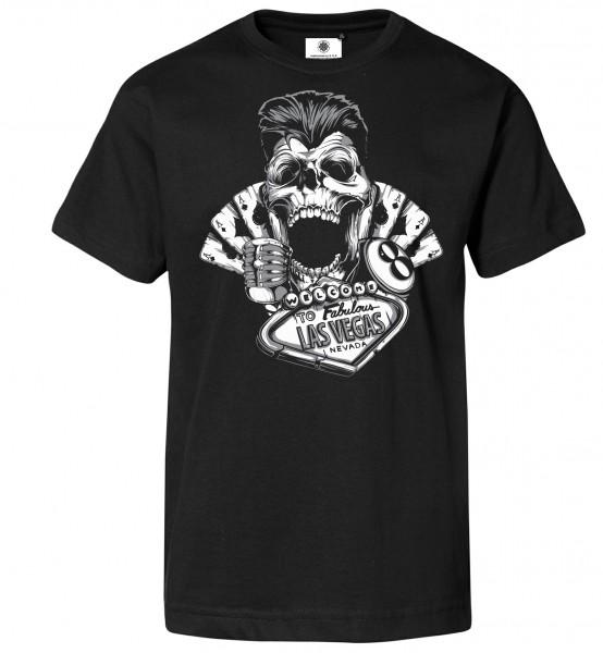 Bedrucktes Herren Old School Gambler T-Shirt Skull Greaser