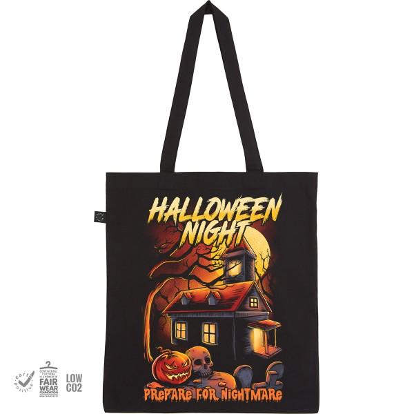 Stoffbeutel mit Aufdruck Einkaufsbeutel Tragebeutel mit langen Henkeln Motiv Halloween Night