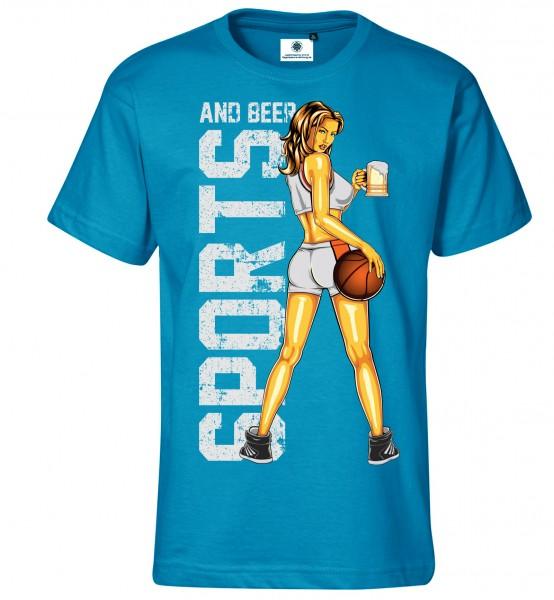 Bedrucktes Herren Basketball Fun T-Shirt Sports and Beer