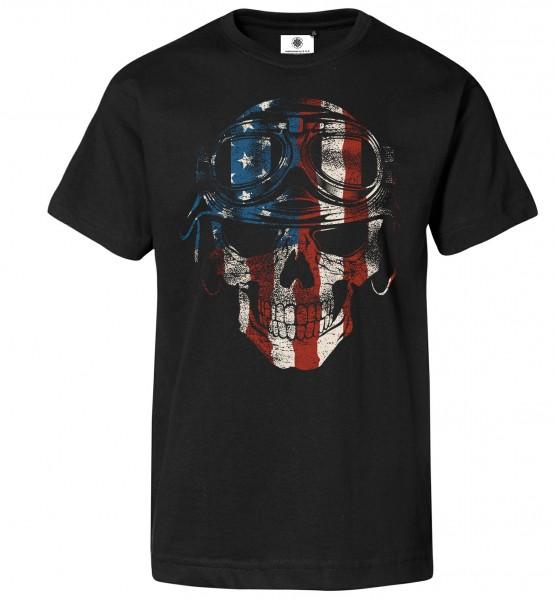 Bedrucktes Herren Rocker T-Shirt American Biker Skull