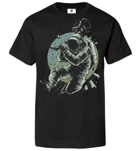 Bedrucktes Herren Rock Astronaut Kosmonaut T-Shirt No Music