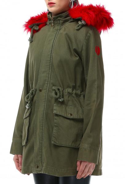 Ladies Rockupy Mantel mit rotem Kunstfellbesatz