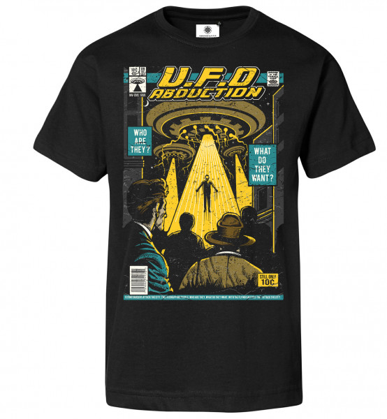 Bedrucktes Herren Science Fiction T-Shirt UFO Abduction