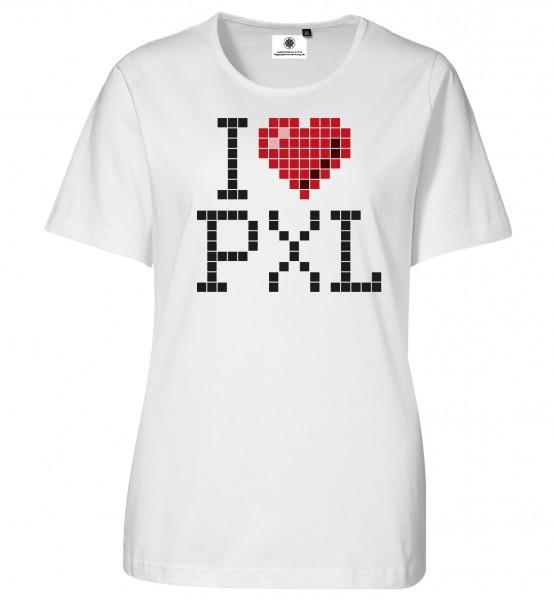 Bedrucktes Damen Gamer T-Shirt I Love Pixel