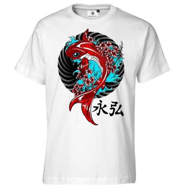 Bedrucktes Herren Japan Asien T-Shirt Koi