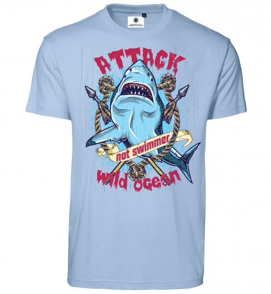 Bedrucktes Herren Surfer T-Shirt Shark Attack