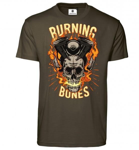 Bedrucktes Herren Biker T-Shirt Burning Bones