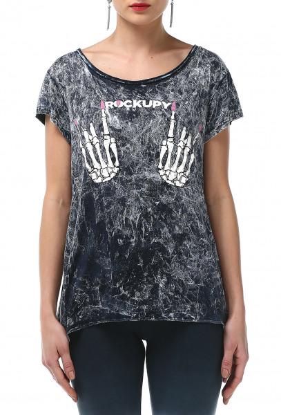 Ladies Rockupy T-Shirt Skeleton Hands