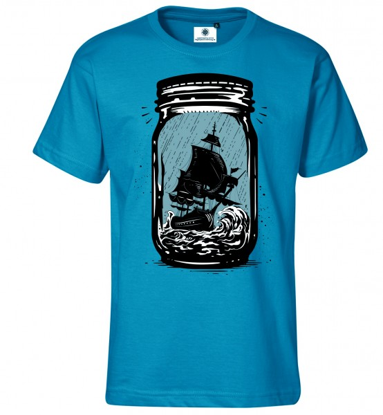 Bedrucktes Herren Segelschiff T-Shirt Trapped