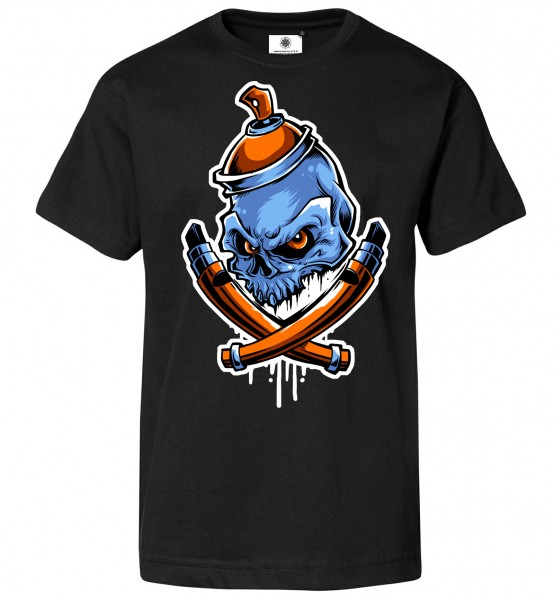 Bedrucktes Herren Sprayer Streetart T-Shirt Graffiti Bones