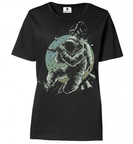 Bedrucktes Damen Rock Astronaut Kosmonaut T-Shirt No Music