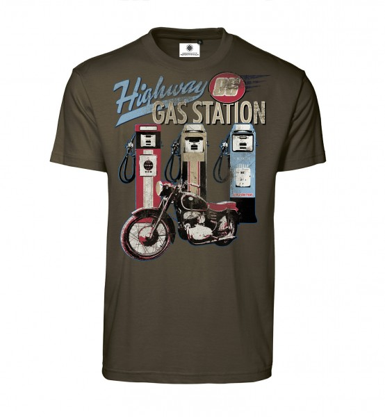 Bedrucktes Herren Vintage Biker T-Shirt Highway Gas Station